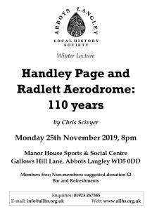 ALLHS lecture - Handley Page and Radlett Aerodrome